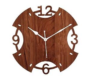 EDEAL Designer Round Housewarming Wooden Wall Clocks - EDWALCLK26