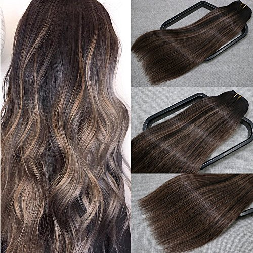 Aison Clip in Human Hair Extensions 16 inch Natural Black to Chestnut Brown P Natural Black 100% Remy Human Hair Super Real 9A grade Quality 7 pcs 120g per package Silky Straight For Full Head