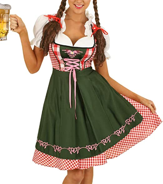 Uyuke Vestido de Dirndl de Oktoberfest alemán para Mujer Vestido ...