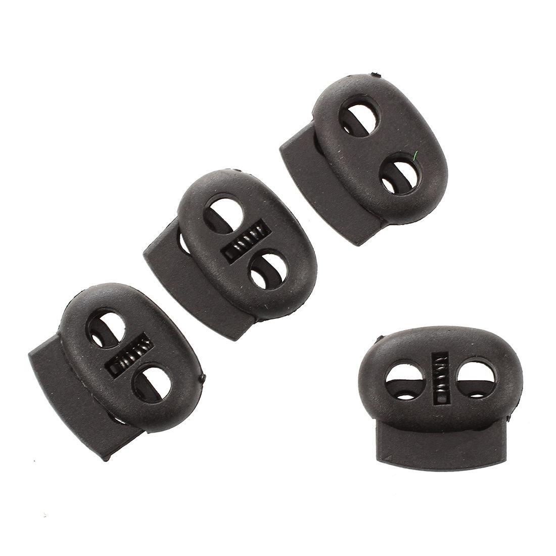 R SODIAL 20 Pcs 2 trous 3,6mm Cordon de serrage serrures de corde Ressorts Toggles Noir