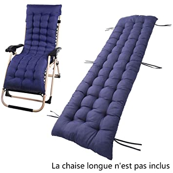 Coussin Chaise Longue Epais Transat De Jardin Bain Soleil Navy Blue