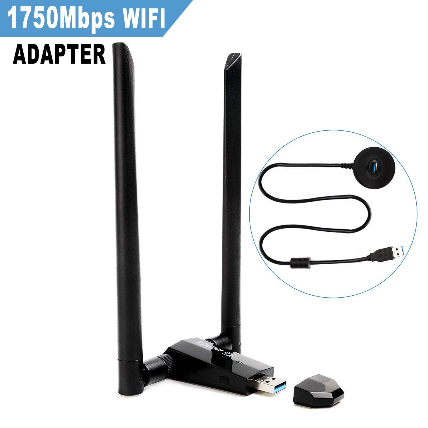 USB 3 0 Dual Band 2 4G 450M 5G 1300M 802 11ac Wifi Adapter dongle 1750Mbps  2 Antennas Wireless Network adapter for PC/Laptop/Desktop/Tablet Supports