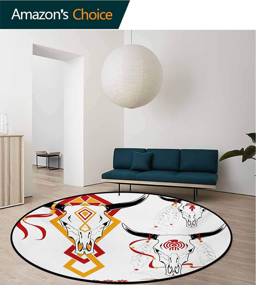RUGSMAT Tattoo Small Round Rug Carpet,Bulls Head with Feather of Bird As Accessory with Tribal Designers Print Door Mat Indoors Bathroom Mats Non Slip,Diameter-71 Inch Red Yellow and White