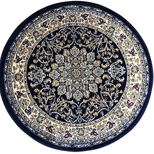 Deir Debwan Traditional Round Persian Area Rug 330,000 Point Dark Blue Design 603 (5 feet 3 inch X 5 feet 3 inch Round)