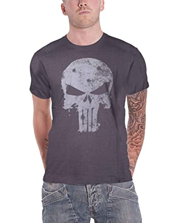 88af54e0 Image Unavailable. Image not available for. Color: Marvel Punisher T Shirt  Faded Skull Logo Vintage Official Mens ...