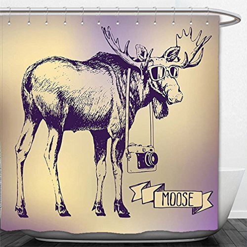Interestlee Shower Curtain Moose Hipster Deer with Shades Sunglasses and Camera Vintage Ombre Design Funny Animal Art Purple - Sunglasses Haymaker