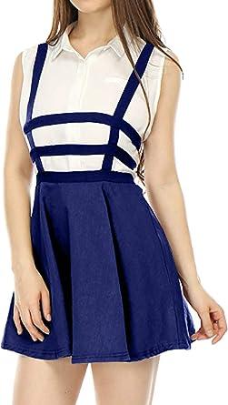 Yacun Mini Falda De Tirantes para Mujer Mini Falda Patinadora De A ...