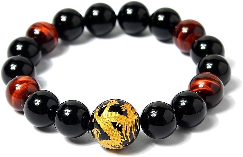 COAI Pulsera para Hombre de Obsidiana y Ojo de Tigre Rojo con Dragón