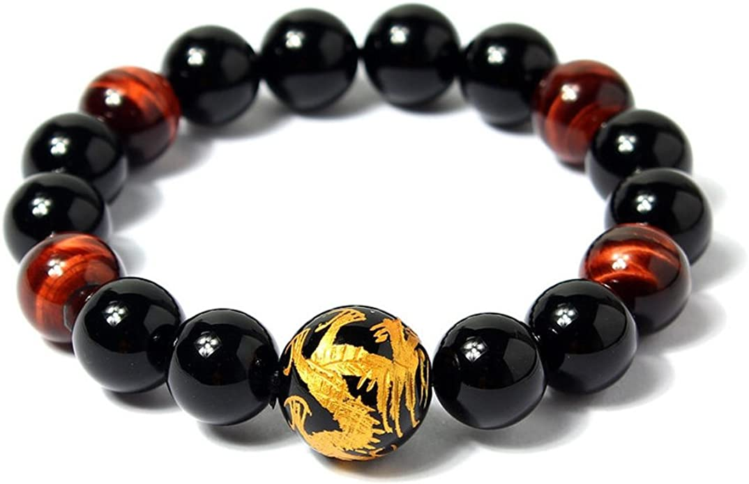 Red Tiger/'s Eye Gemstones Men/'s Asian Dragon Bead Bracelet Reiki Chakra Stones