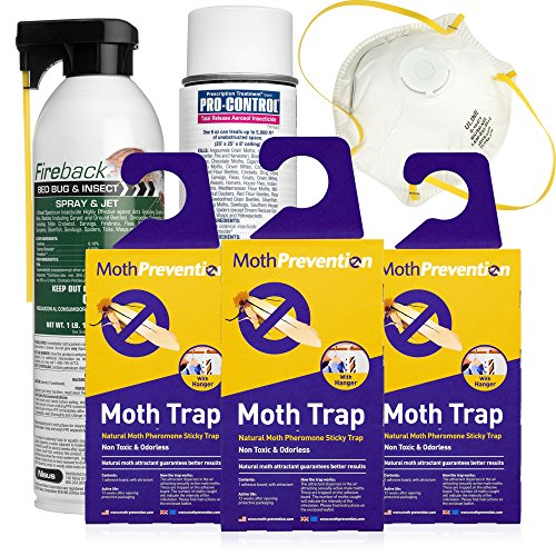 CLOTHES MOTH KILLER KIT Including Clothes Moth Traps by MothPrevention - 6 Months Protection for Closet Clothing! - Includes Powerful Clothes Moth Trap x3, Fogger, Spray + Full Instructions
