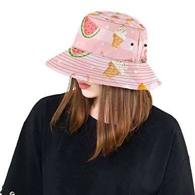 d4d10b3a97f Summer Watermelon Flamingo New Summer Unisex Cotton Fashion Fishing Sun  Bucket Hats for Kid