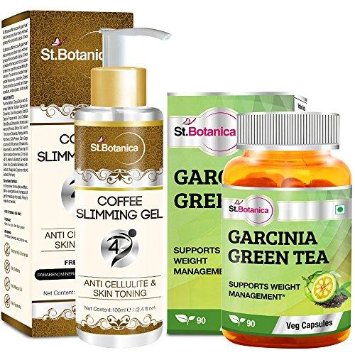 St.Botanica Garcinia Green Tea - 90 Veg Caps + Coffee 4D Slimming Cream by St. Botanica