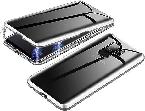 Jonwelsy Anti-Spy Funda para Samsung Galaxy S9 Plus, 360 Grados Proteccion Case, Privacidad Vidrio Templado Anti espía Cover, Adsorción Magnética Metal Bumper Cubierta para Galaxy S9+ (Plata): Amazon.es: Electrónica