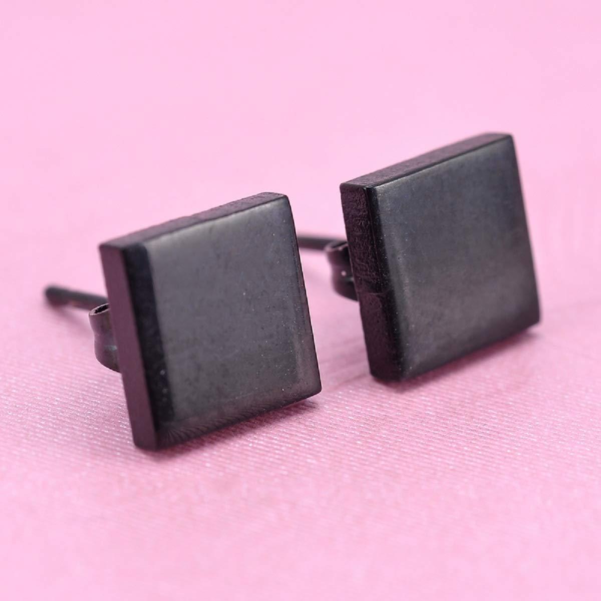 5/paires noir//argent/é en acier inoxydable carr/é Clous doreille oreilles Ensemble de bijoux pour homme ou femme hypoallerg/énique noir 4mm-8mm