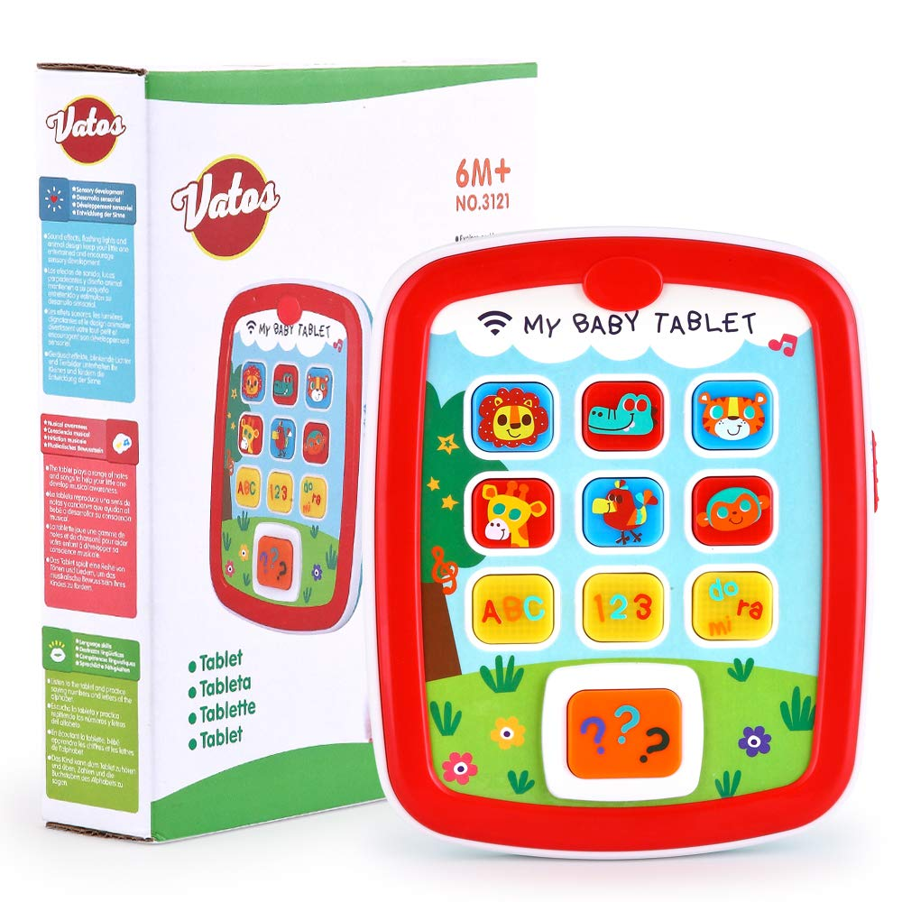 Toddler Learning Tablet for 1 Year Old, VATOS Baby Ipad for 6M -12M -18M+ with Music & Light, Travel Toy Tablet with Easy ABC Toy, Numbers & Color   My First Learning Tablet by VATOS (Image #7)