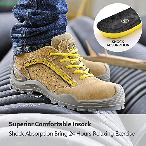 SAFETOE Mens Safety Shoes Steel Toe Shoes -[ASTM Approved] Lightweight Leather Safety Work Shoes for Heavy Duty…