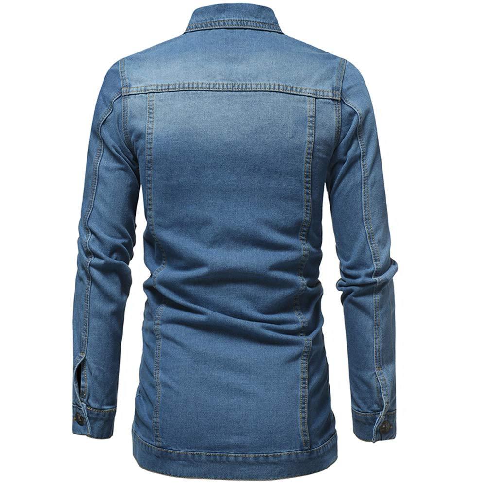 Bloossom Mens Long Denim Jacket Long Sleeve Vintage Wash Jean Coat Top Outwear