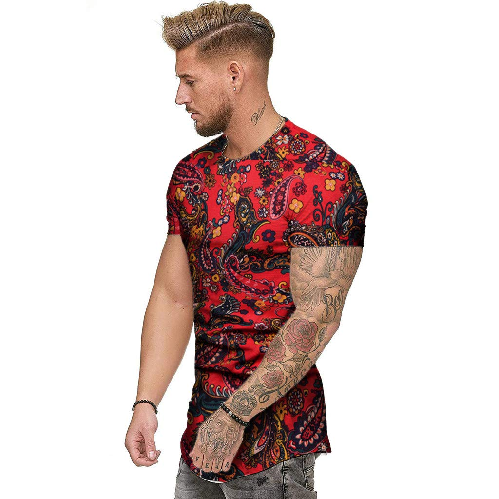 Fashion Mens Summer Slim Casual African Print O-Neck Fit Short Sleeve Top Blouse Tronet Mens Summer t Shirts Short Sleeve