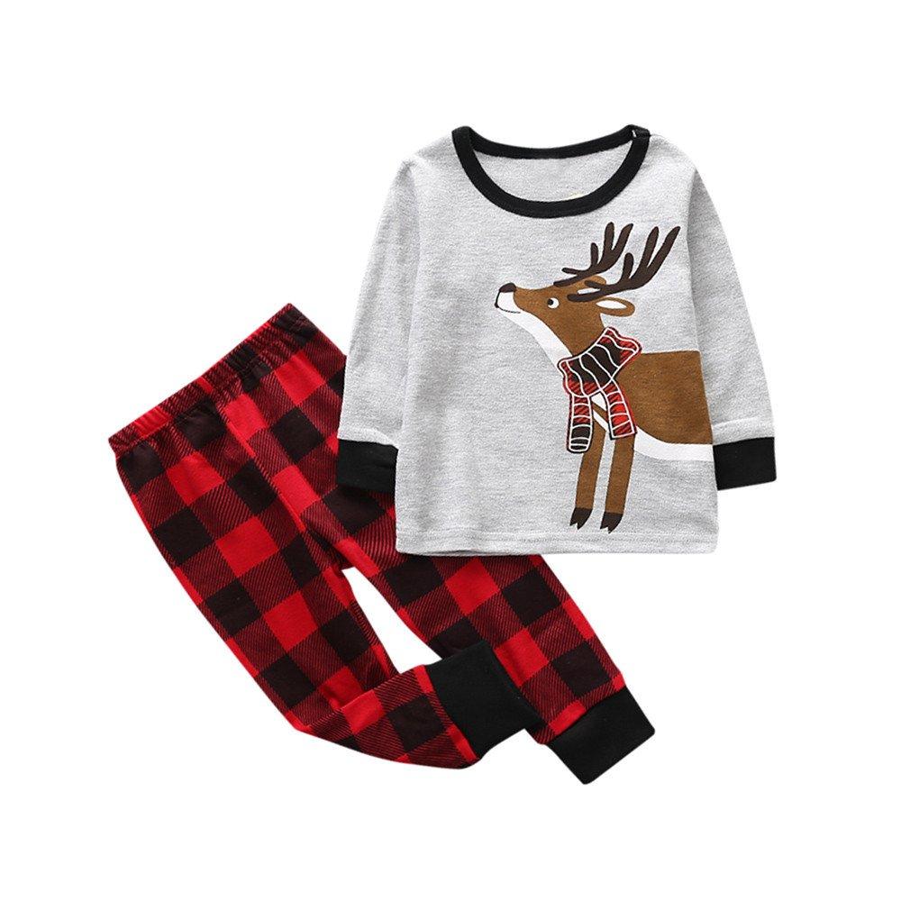 CieKen Newborn Baby Boys Girls Christmas Deer Print Tops Pants Clothes Outfits