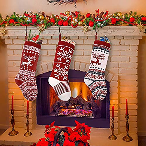 """sanipoe 3 Pcs Knit Christmas Stocking, 18"""" Snowflake and elk Stockings, Personalized Stocking Decorations for Family Holiday Xmas Party Decorations"""