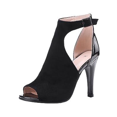 YE Damen T Strap Peep Toe Leder Sandaletten Stiletto High