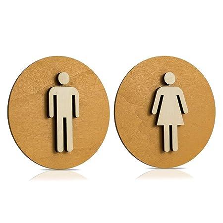 Cartel Madera de WC, Cartel para puerta, Cartel mujer, hombre, discapacitados, color nogal claro, madera, Damen+Herren, Ø 12cm
