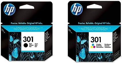 HP 301 Cartuchos de tinta originales, negro y tricolor, paquete de 2: Amazon.es: Oficina y papelería
