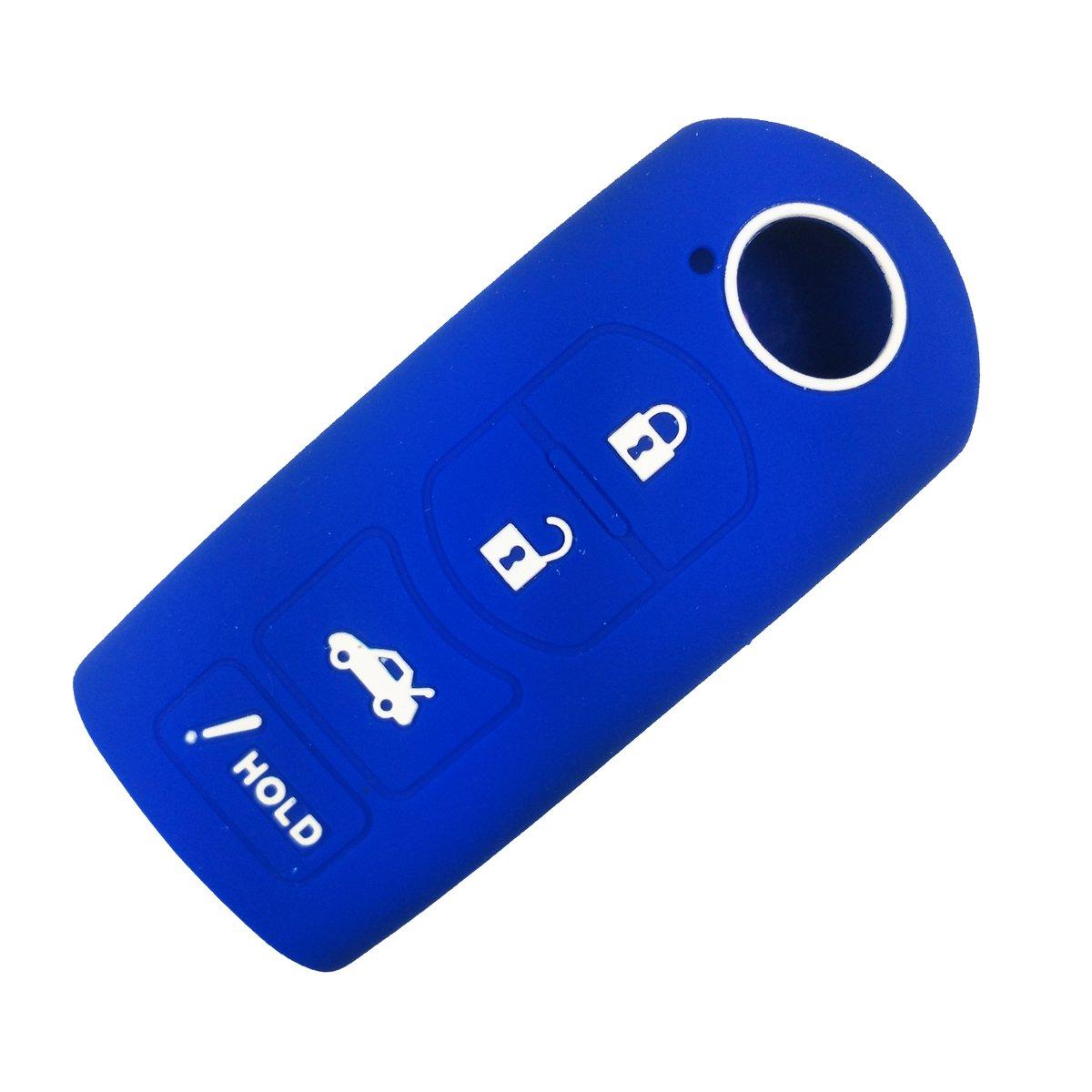 coolbestdaシリコンキーリモートFobカバーケースプロテクタースキンジャケットキーレスエントリのマツダ3 6 CX 7 CX 9 MX 5 Miata 4ボタンスマートキー ブルー WAZXIT763SKE11A04 B01M3T196X ブルー ブルー
