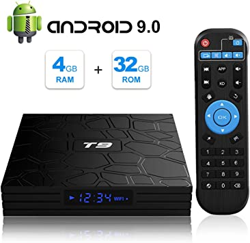 Android TV Box, T9 Android 9.0 TV BOX 4GB RAM/32GB ROM RK3318 Quad-Core Media Box Soporte 2.4GHz/5.0GHz WiFi 64 bits H.265 Bluetooth 4.0 DLNA UHD 4K Mini TV Box: Amazon.es: Electrónica