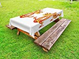 Lunarable Dragon Outdoor Tablecloth, Identical Twin Dragons on Symmetric Axis Religious Mythic Featured Heritage Animal, Decorative Washable Picnic Table Cloth, 58 X 104 inches, Orange Red