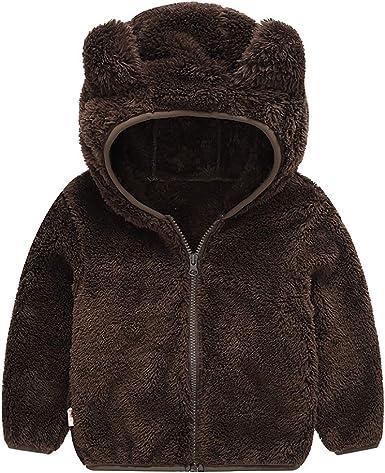 Baby Toddler Autumn Winter Warm Hooded Bear Jacket Cardigan Infants Outerwear