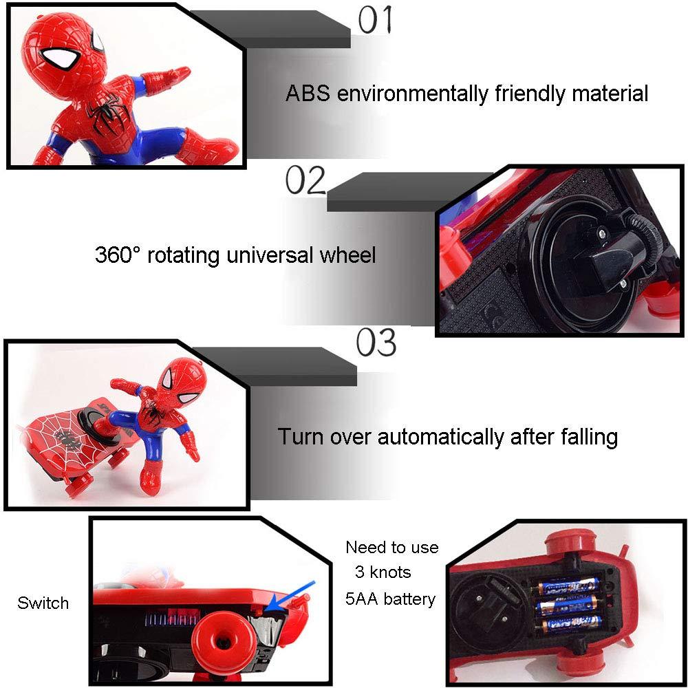 Adwe Spiderman Scooter Electric Swivel Music Lighting Children Cartoon Toys Desks Decoration A