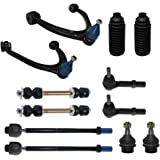 Detroit Axle - 12-Piece Front Suspension Kit - 2 Upper Control Arm & Ball Joints, 2 Lower Ball Joints Fit Steel Control…