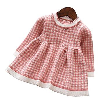 f6a5bcdf12efb Mornyray ベビー服 ワンピース ドレス ニット 長袖 チェック柄 子供服 暖か 厚手 おしゃれ 女の子 幼児 0