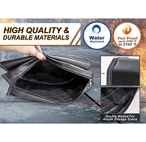 """Fireproof, Water Resistant Bag for Money, Jewelry, Documents, Laptops, Papers, Valuables 