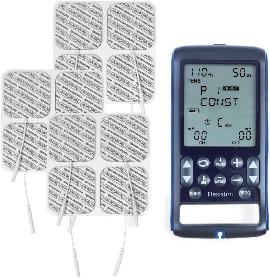 TensCare Flexistim& 12 electrodos - Electroestimulador Completo con 4 terapias: EMS, Tens, Ift y Microcorriente. Dispositivo pequeño Pero potente, con ...