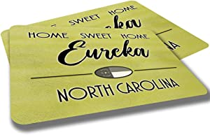 Eureka North Carolina Home Sweet Home Towns Cities Provinces Door Mat Yellow Souvenir Gift Design Rubber Grip Non Skid Backing Rug Indoor Entryway Door Rugs Mats Pack of 2