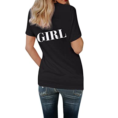a8570bb90e1 Image Unavailable. Image not available for. Color  GOVOW Letter Printed  Shirts for Women Short Sleeve Letter Printed Blouse Tops Clothes T Shirt