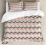 Chevron Duvet Cover Set King Size by Lunarable, Pastel Toned Geometric Zigzags Artistic Style Retro Color Fashion Hippie Image, Decorative 3 Piece Bedding Set with 2 Pillow Shams, Multicolor