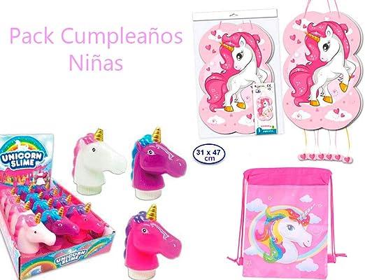DISOK Pack Cumpleaños Niñas Piñata + Slime + Mochila Petate ...