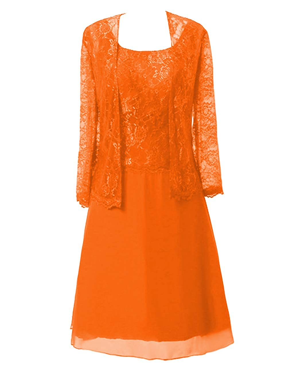 orange Mother of The Bride Dresses Knee Length for Wedding Plus Size Mother Dresses for Women Special Occasion with Jacket
