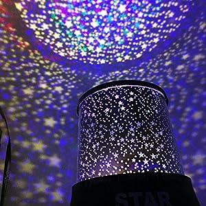 f81b78f1d04 FastDirect Lámpara Infantil de LED Lámpara de Estrella Noche Star Projector  Rotación para Niños