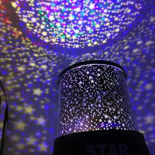 LED Star Night Light Projector for Kids, Childrens Night Lamp, Baby Kids Sleep USB Projector Rotation Colorful Light Lamp, Unique Gifts for Children (Black 1)