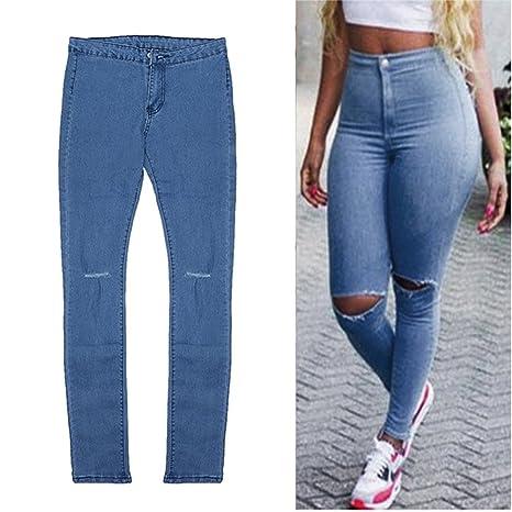 584133e6b7 Interesting® Donne Vita Alta Jeans Aderenti Slim Capris Ginocchio Strappata  Hole Vintage Denim dei Pantaloni della Matita