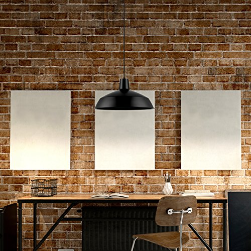 Globe Electric Barnyard 1-Light 16'' Industrial Warehouse Pendant, Matte Black Finish, 65155 by Globe Electric (Image #7)