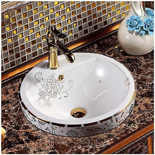 丸型洗面台シンク、アート洗面器のバスルームシンク洗面台はバスの改造に最適、480X480x190mm、セラミック、白