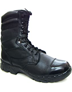 amazon com asm black leather army parade drill boots with