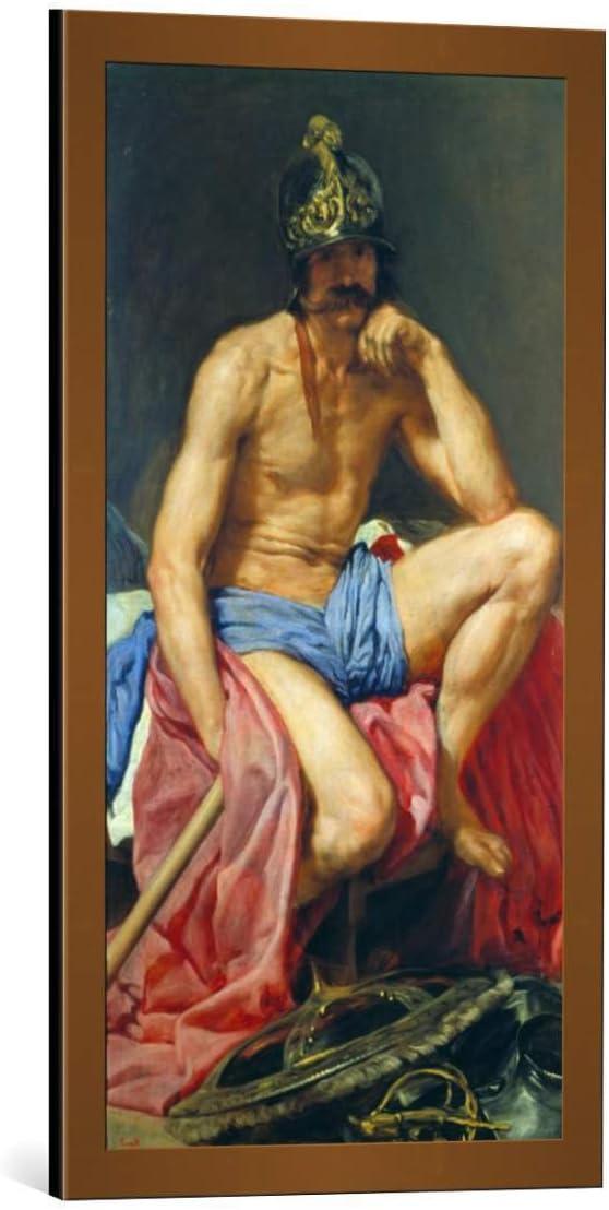 Kunst für Alle Cuadro con Marco: Diego Rodriguez de Silva y Velazquez Der Gott Mars - Impresión artística Decorativa con Marco, 40x80 cm, Cobre Cepillado