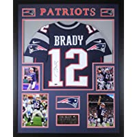 $1995 » Tom Brady Autographed Navy New England Patriots Nike Jersey - Beautifully Matted and Framed - Hand Signed By Tom Brady and…