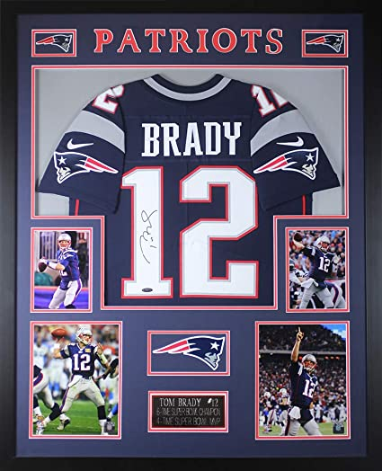 Tom Brady Autographed Navy New England Patriots Nike Jersey - Beautifully  Matted and Framed - Hand f863b45e6